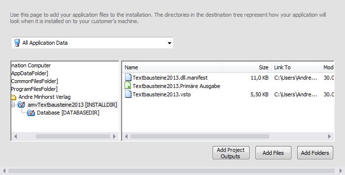 Die Anwendungsdaten mit den soeben ausgewählten Dateien