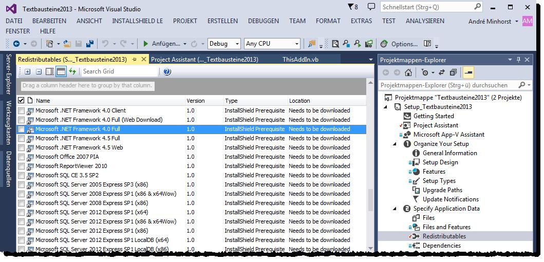 Hinzufügen des benötigten .NET-Frameworks