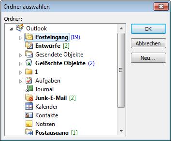 Dialog zum Auswählen des einzulesenden Mail-Ordners