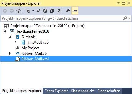 Der Projektmappen-Explorer mit der Ressourcen-Datei