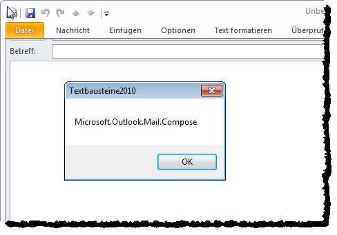 Die Funktion GetCustomUI wird auch beim Öffnen eines E-Mail-Fensters aufgerufen.