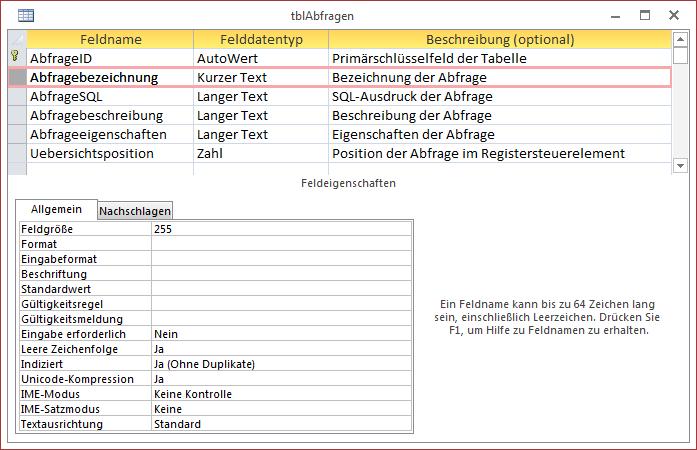 Entwurf der Tabelle zum Speichern der Abfragen