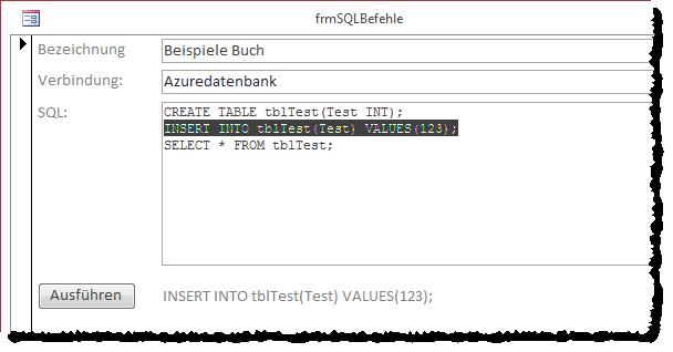 Markieren der auszuführenden SQL-Anweisung