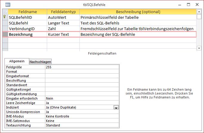 Entwurf der Tabelle zum Speichern der SQL-Befehle