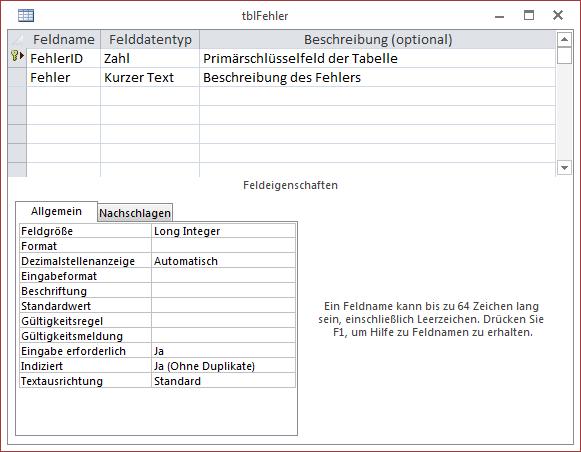 Entwurf der Tabelle tblFehler