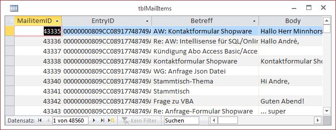 Die Tabelle tblMailItems mit einigen Datensätzen