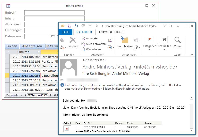 Eine per Doppelklick geöffnete E-Mail
