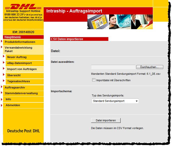 Seite zum Importieren der CSV-Datei