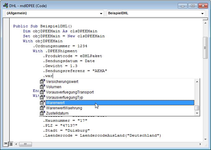 IntelliSense beim Programmieren der Erstellung der CSV-Datei