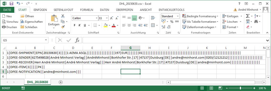Frisch erstellte Versanddatei in Excel