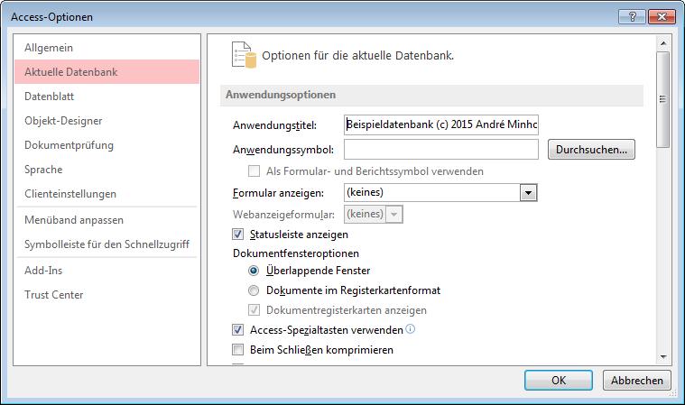 Titel des Access-Fensters einstellen