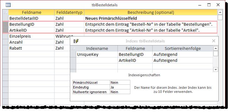 Ehemalige Primärschlüsselfelder als eindeutigen Index definieren
