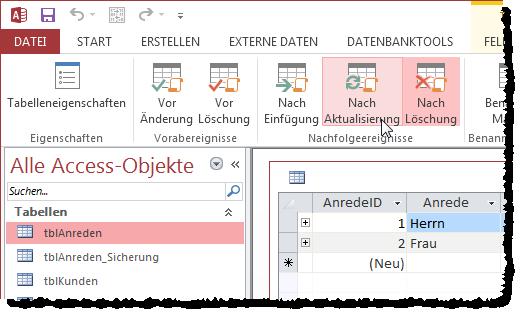 Ribbon-Befehl zum Anzeigen des Datenmakros, das durch das Tabellenereignis Nach Aktualisierung ausgelöst wird