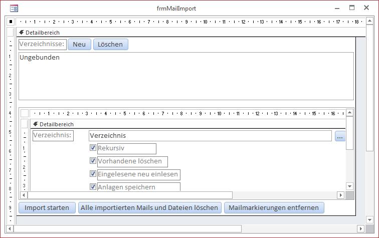 Das Formular frmMailImport in der Entwurfsansicht