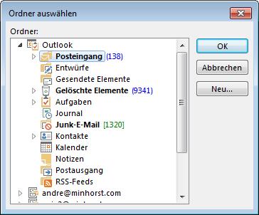 Auswählen des Mail-Ordners