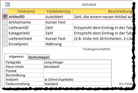 Entwurf einer Tabelle mit Autowert-Primärschlüsselfeld