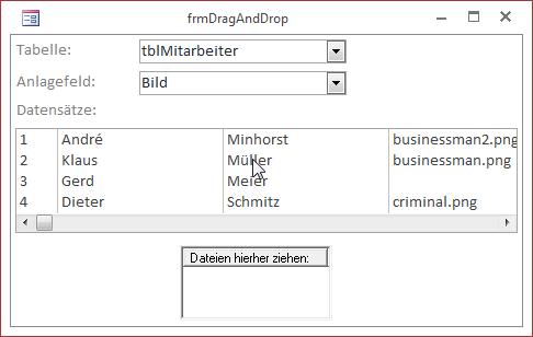 Formular mit Drag-and-Drop-Ziel für das Anlagefeld