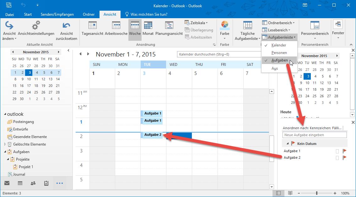 Einblenden der Aufgabenleiste und Hinzufügen von Aufgaben als Tätigkeiten zum Kalender