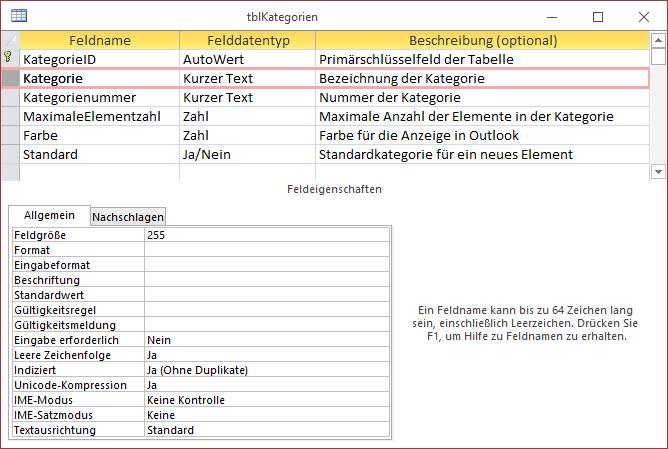 Tabelle zum Speichern der Kategorien