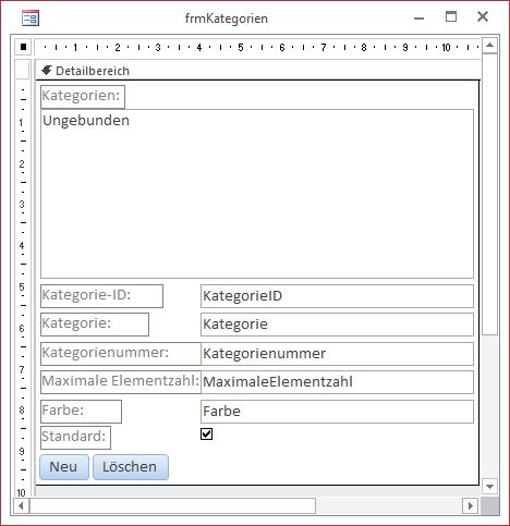 Dialog zum Verwalten der Kategorien in der Entwurfsansicht