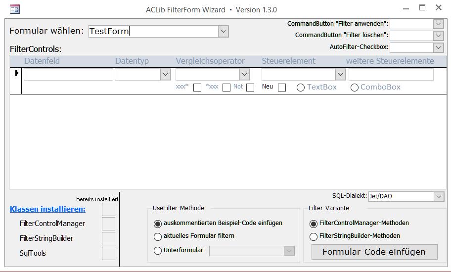 ACLib-FilterForm-Wizard – Ansicht nach Auswahl eines Formulars