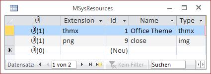Die Tabelle MSysResources speichert Bilddateien.