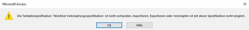 Fehlermeldung wegen einer fehlenden Textdateispezifikation