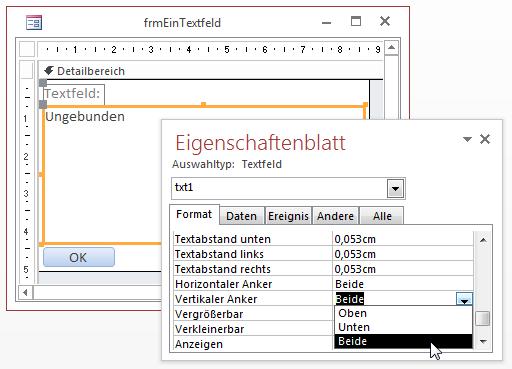 Einstellen der Anker für ein Textfeld