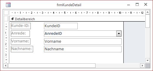 Erster Entwurf des Formulars frmKundeDetail