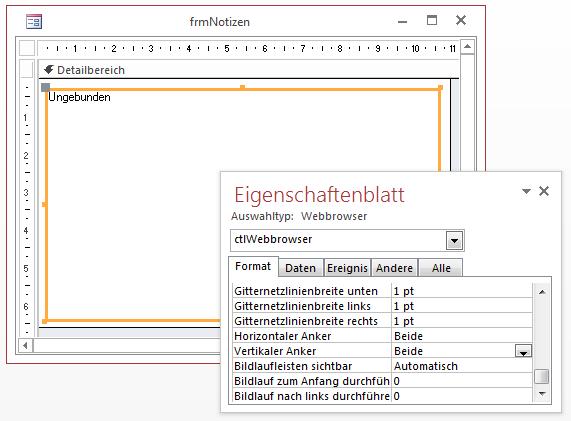 Einfügen und Anpassen des Webbrowser-Steuerelements