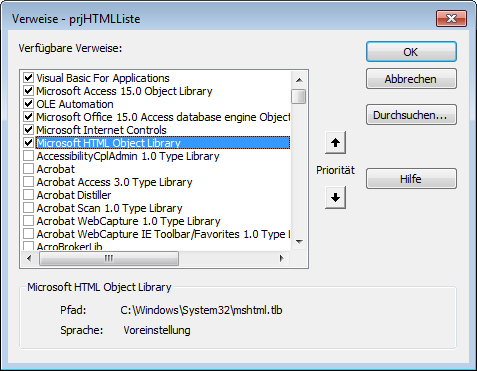 Zusätzlicher Verweis auf die Bibliothek Microsoft HTML Object Library