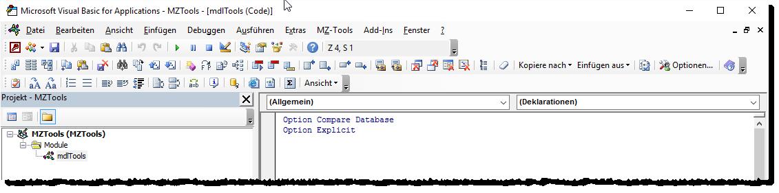 MZ-Tools 8.0 kommt mit zwei Symbolleisten sowie einem Menüleisten-Eintrag