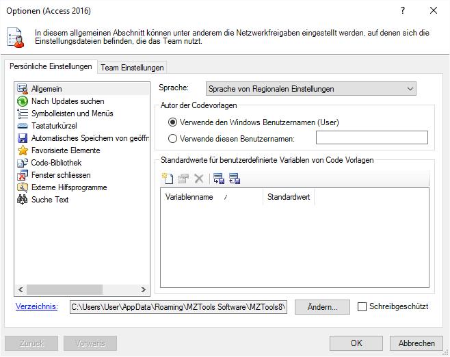 Optionen-Dialog der MZ-Tools 8.0