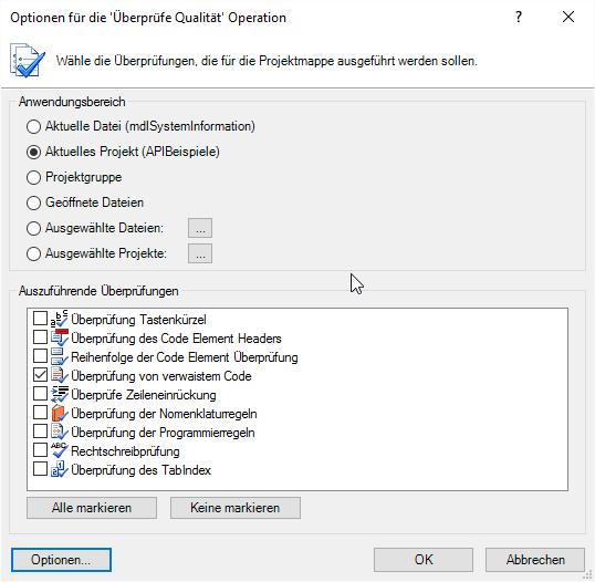 Optionen zum Überprüfen der Code-Qualität
