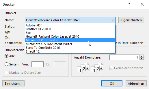 Drucken-Dialog mit dem Microsoft-eigenen PDF-Treiber