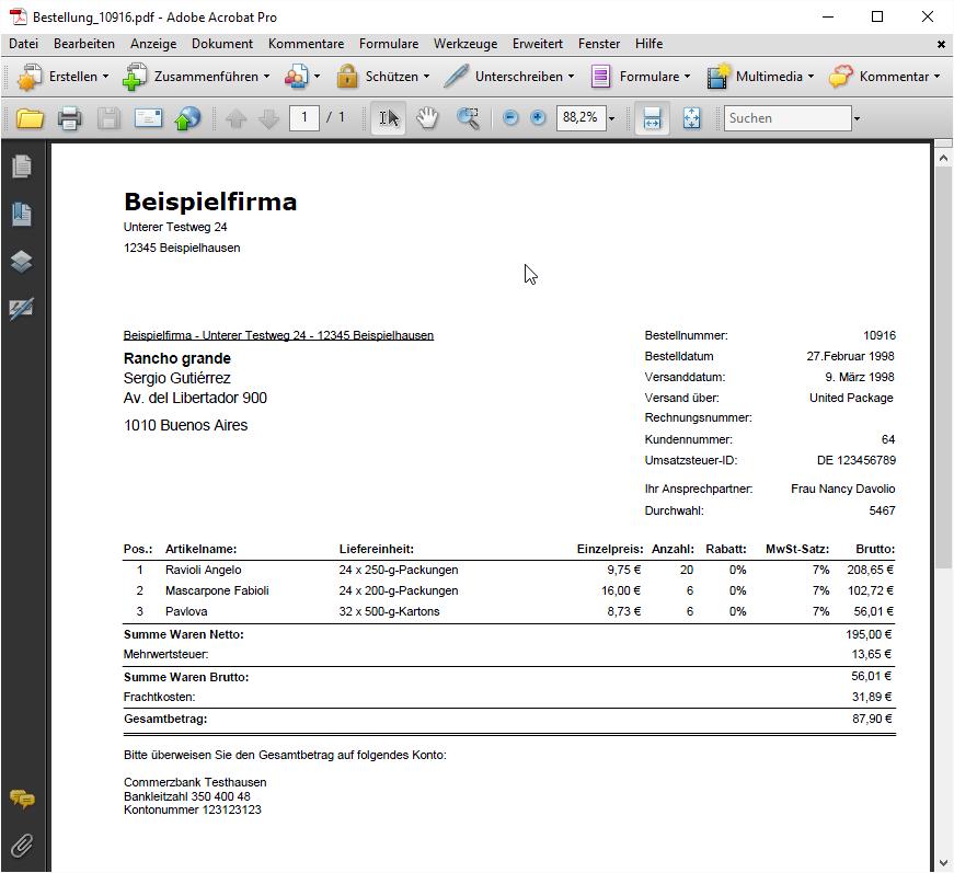 Ein Bericht im PDF-Format