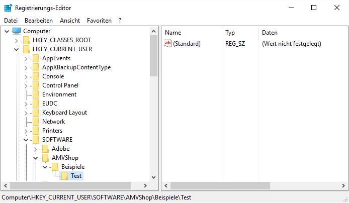 Der neue Eintrag in der Windows-Registry