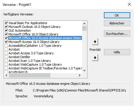 Verweis auf die DAO-Bibliothek, zusätzlich auch noch auf die Access-Bibliothek