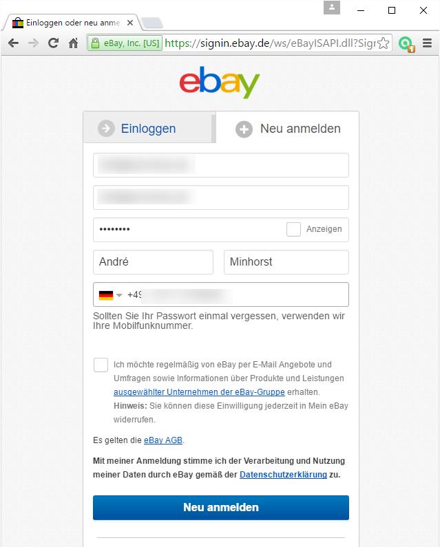 Neu registrieren bei ebay