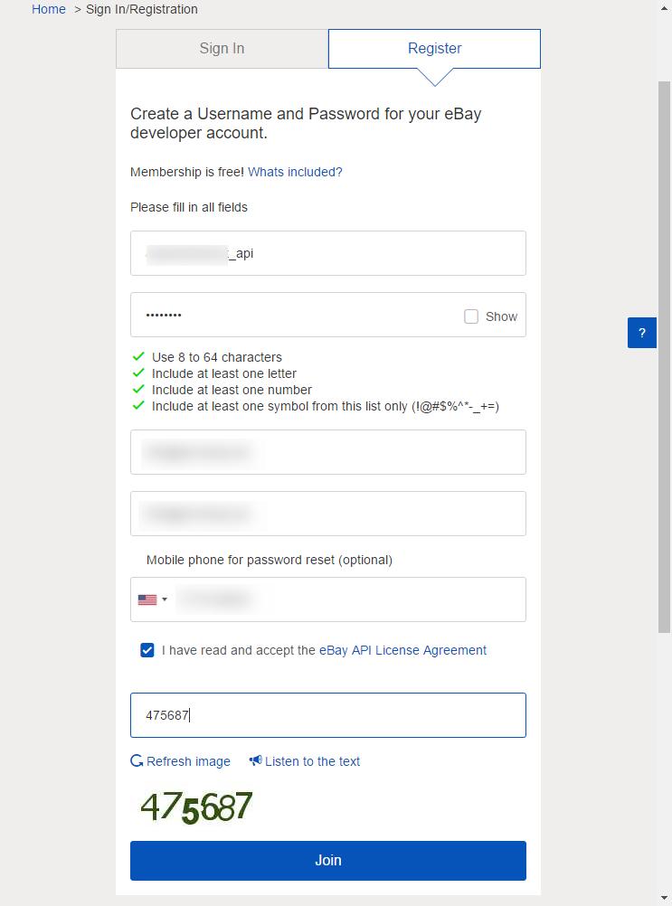 Neu registrieren als Developer bei ebay