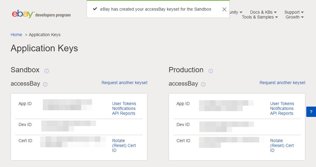 Übersicht mit den Application Keys für den Sandbox- und für den Production-Modus