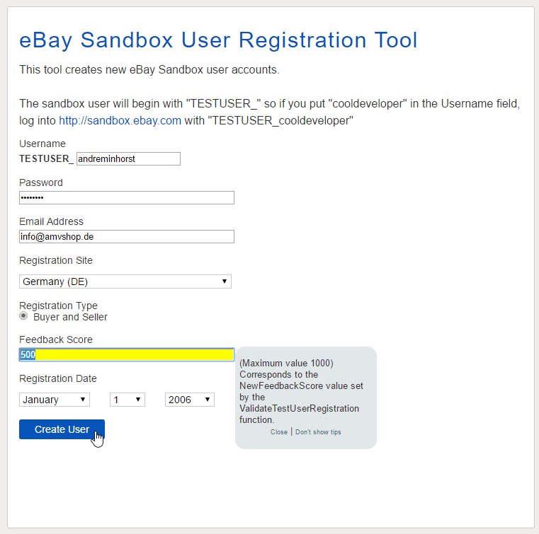 Registrierung eines Sandbox-Users