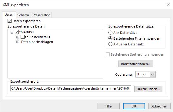 Ausgabe der Daten mit dem aktuell festgelegten Filter