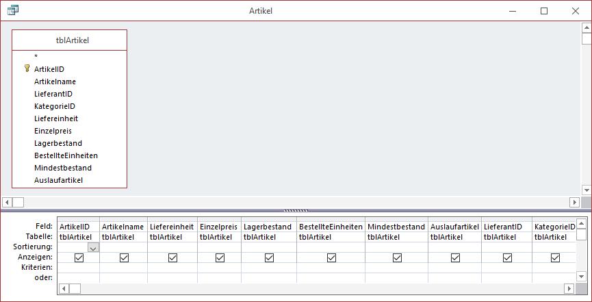 Der Export dieser Tabelle liefert Elemente mit dem Namen Artikel.