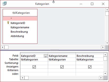 Abfrage für den Export der Daten der Tabelle tblKategorien unter dem Elementnamen Kategorie