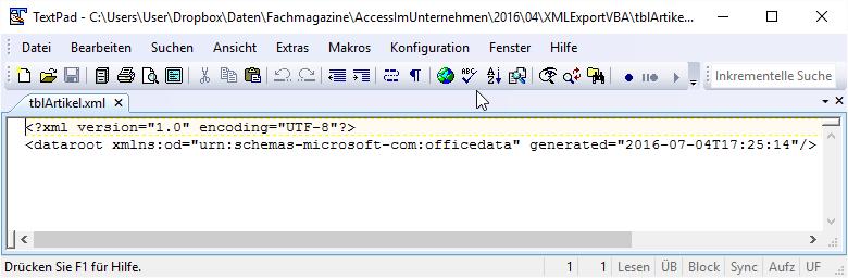 XML-Export ohne Daten