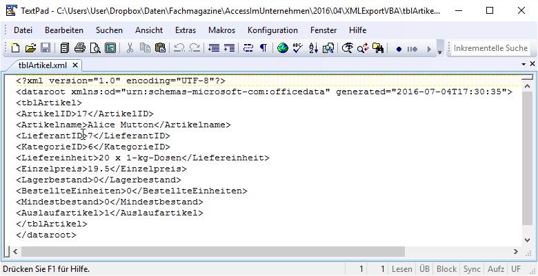 XML-Export mit Filter nach Artikelname