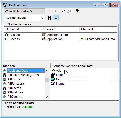 Der Objektkatalog liefert Informationen über den Datentyp von AdditionalData.
