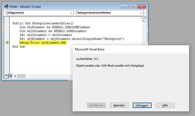 Fehler beim Zugriff auf ein XML-Element