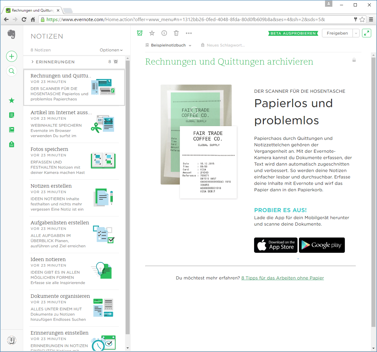 Zugriff auf Evernote per Browser